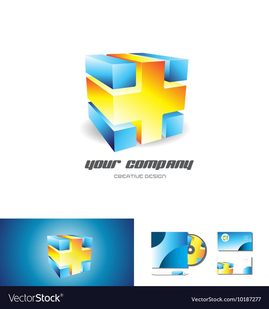 Blue orange cube abstract 3d logo design