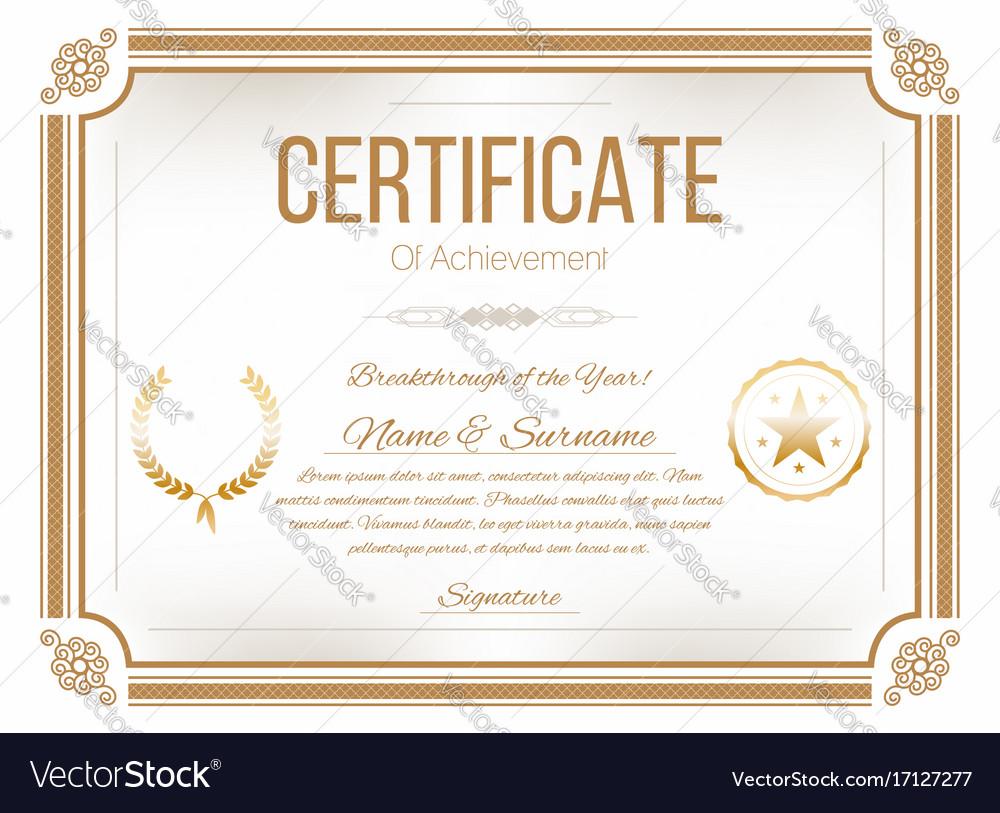 Certificate Design Template Retro Certificate Vector Image