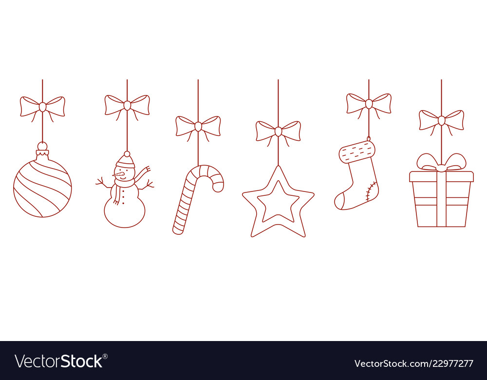 Christmas hanging thin line ornaments background