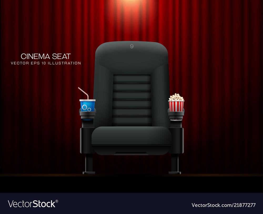 Cinema seattheater seat on curtain with spotlight