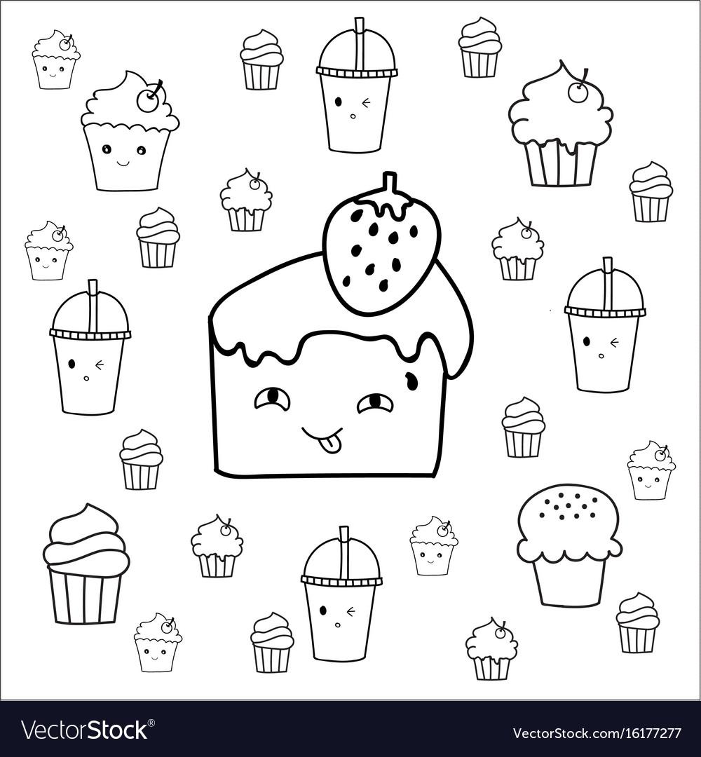Cute hand drawn desserts doodles design