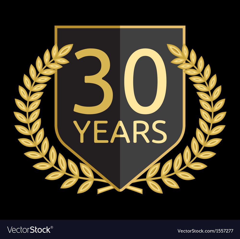 Golden laurel wreath 30 years vector image