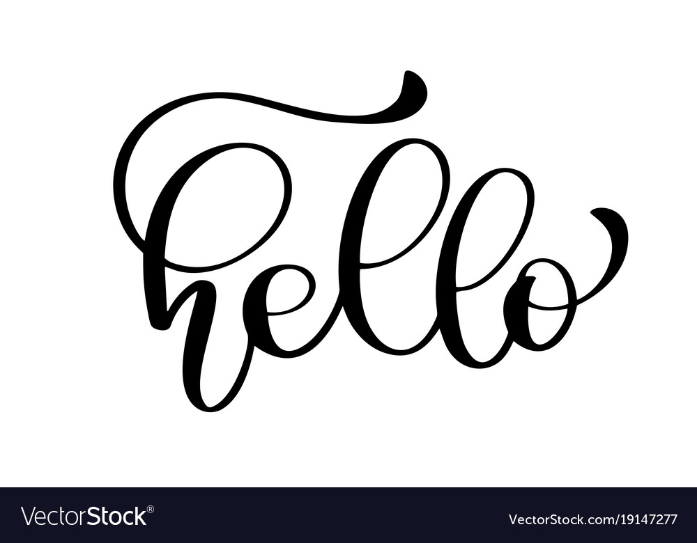 Hello quote message calligraphic simple logo vector image