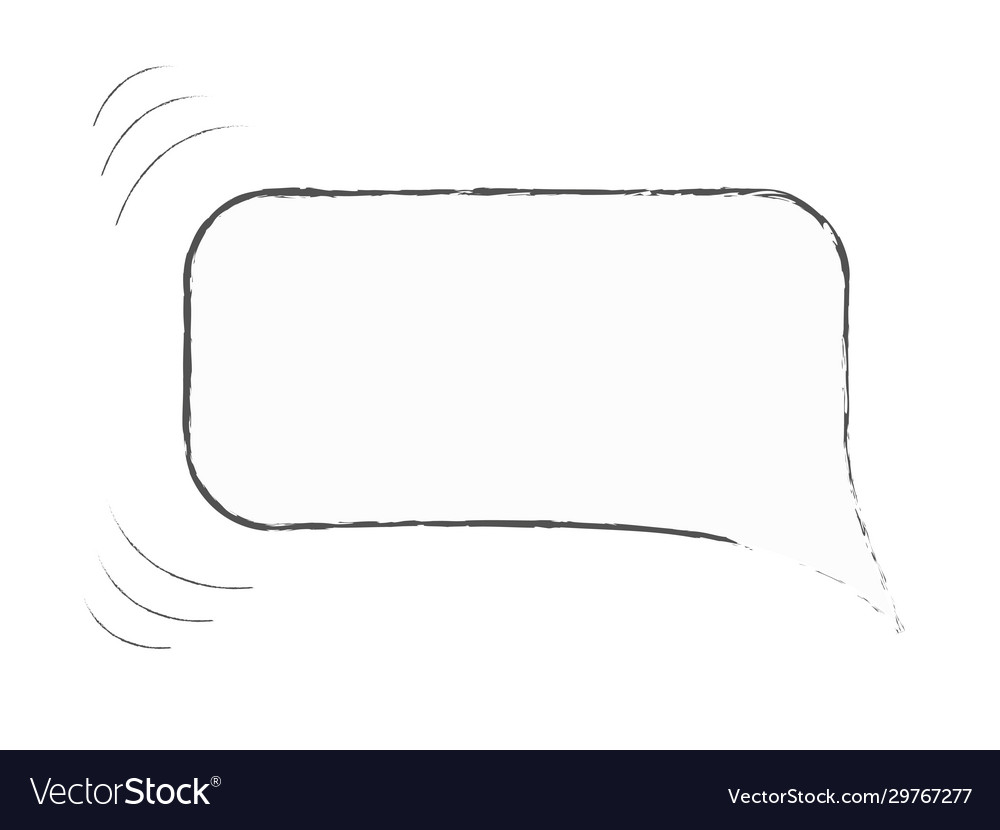 Isolated hand drawn speech bubble as if moving