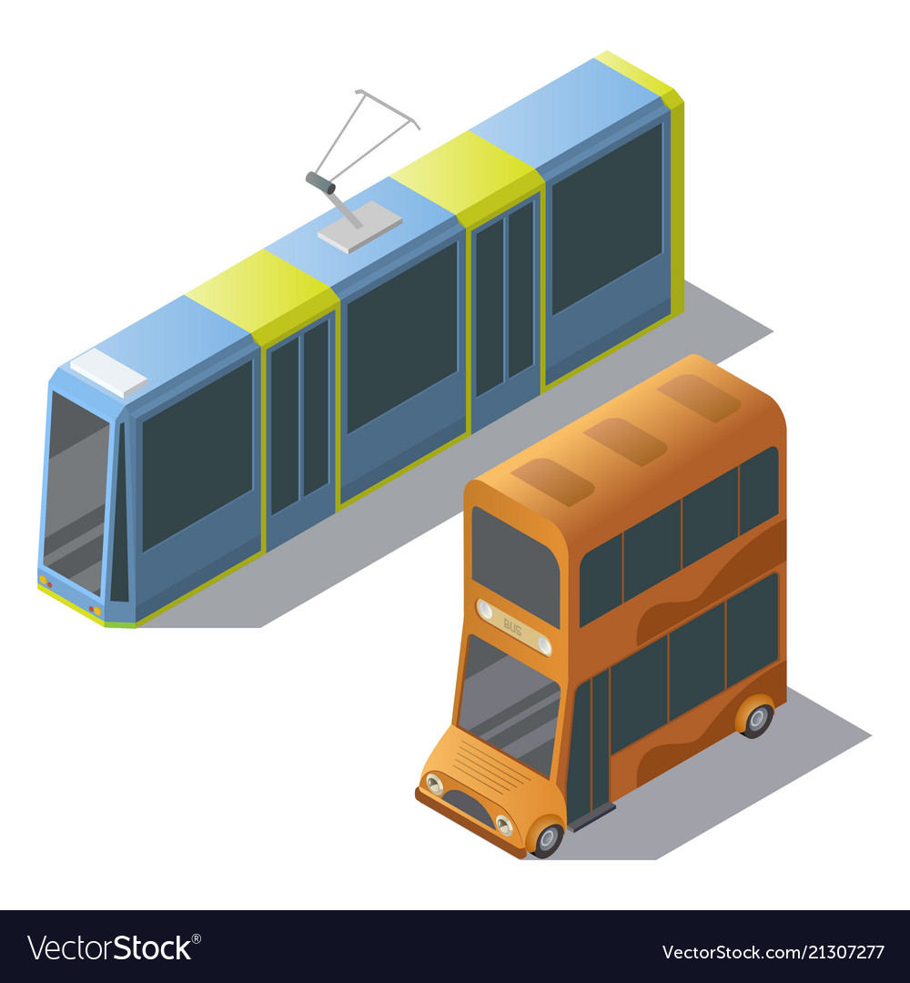 Isometric double decker bus and tram
