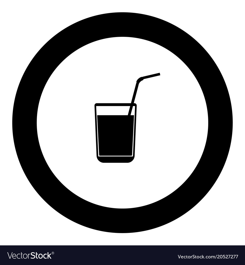 Juice glass with drinking straw black icon in