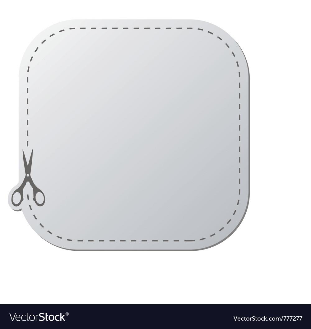 Paper sticker with scissors vector image