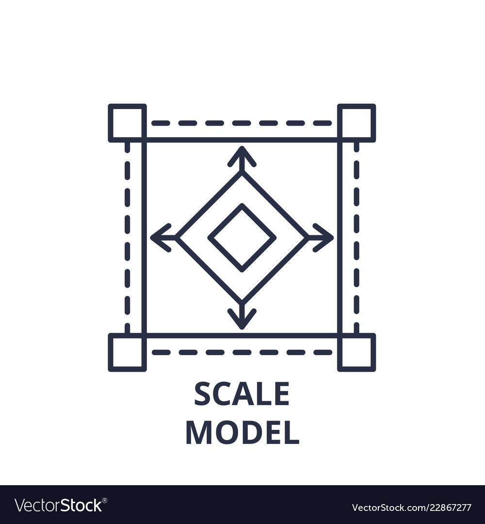 Scale model line icon concept scale model