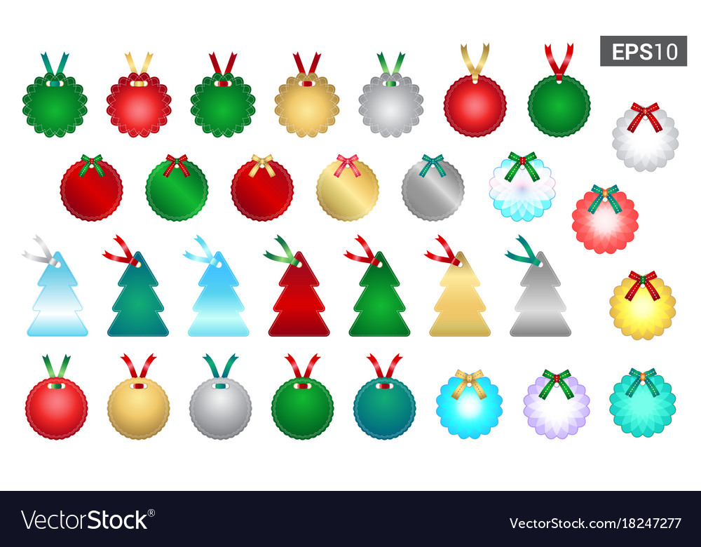 Set of season greetings gift tag template for