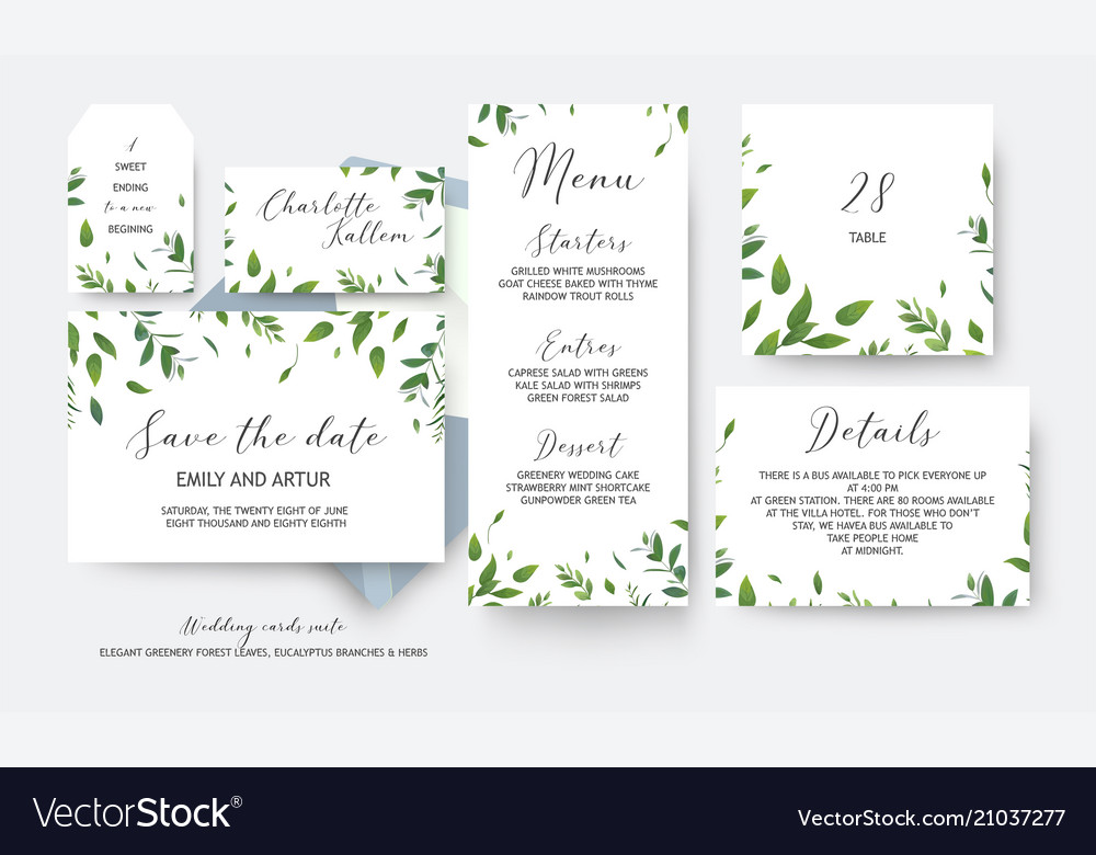 Wedding cards collection with greenery leaves