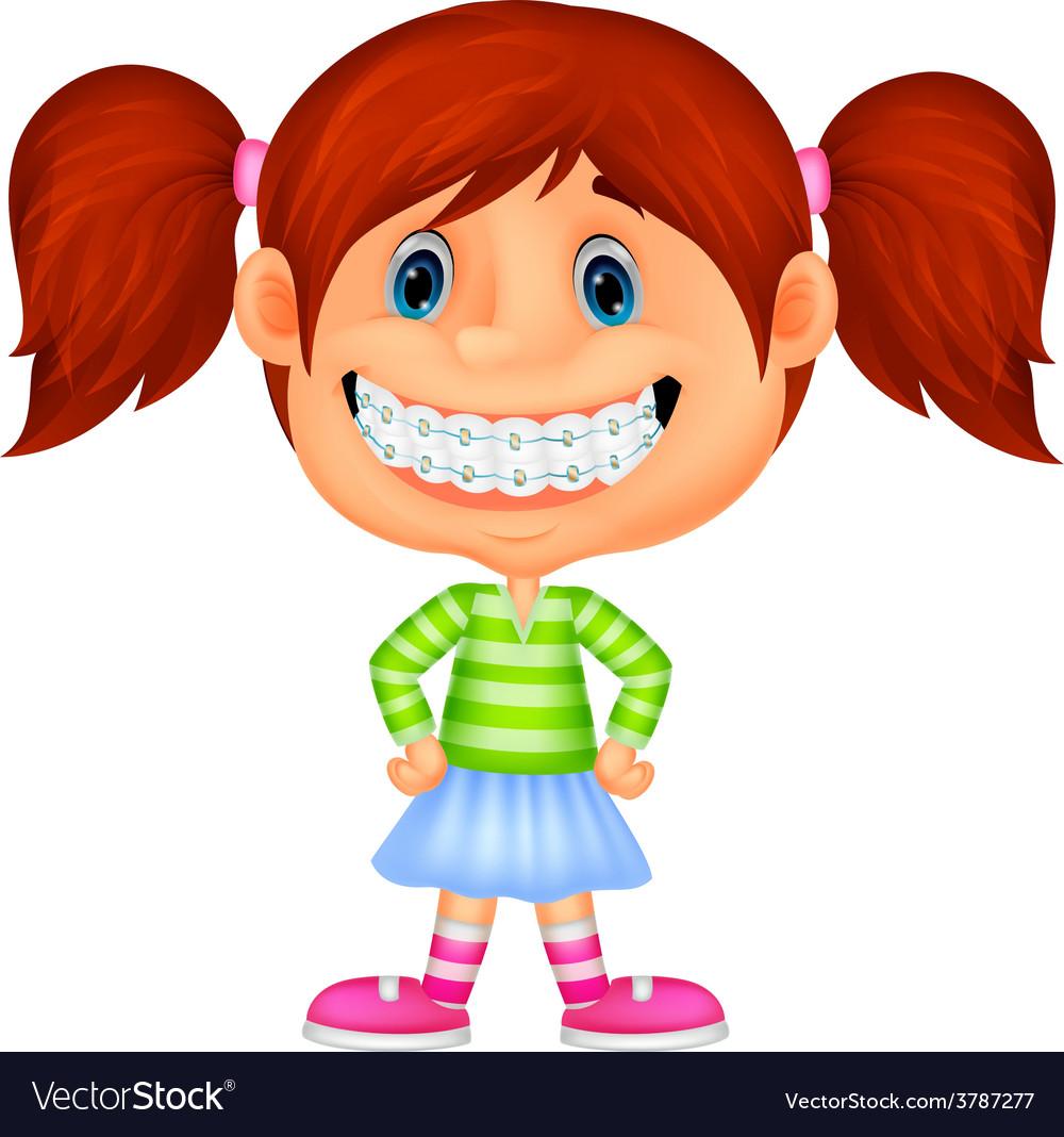 Young children cartoon smiling