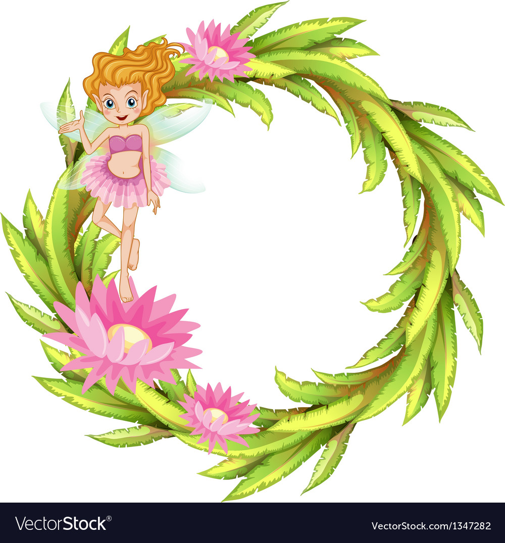 A round border design with a fairy
