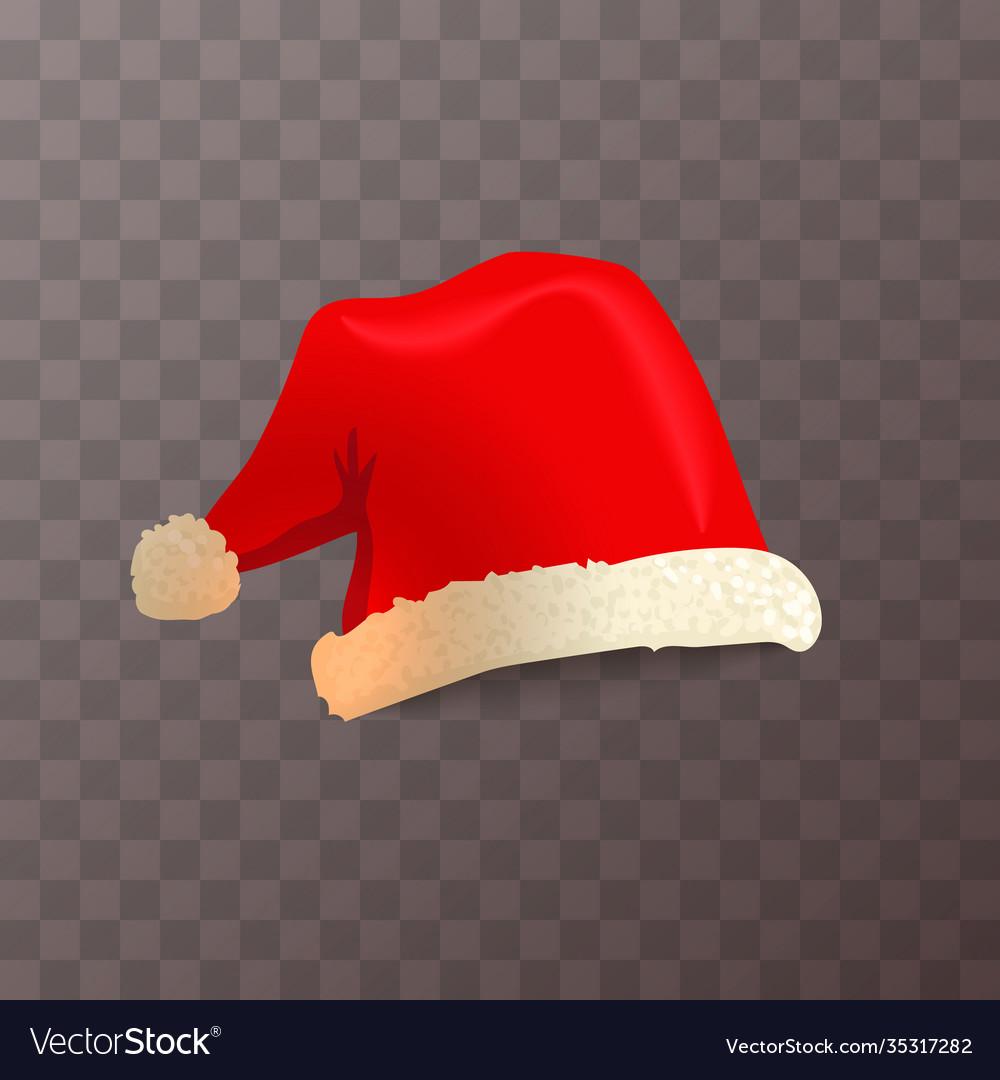Bright red santa claus hat on transparent