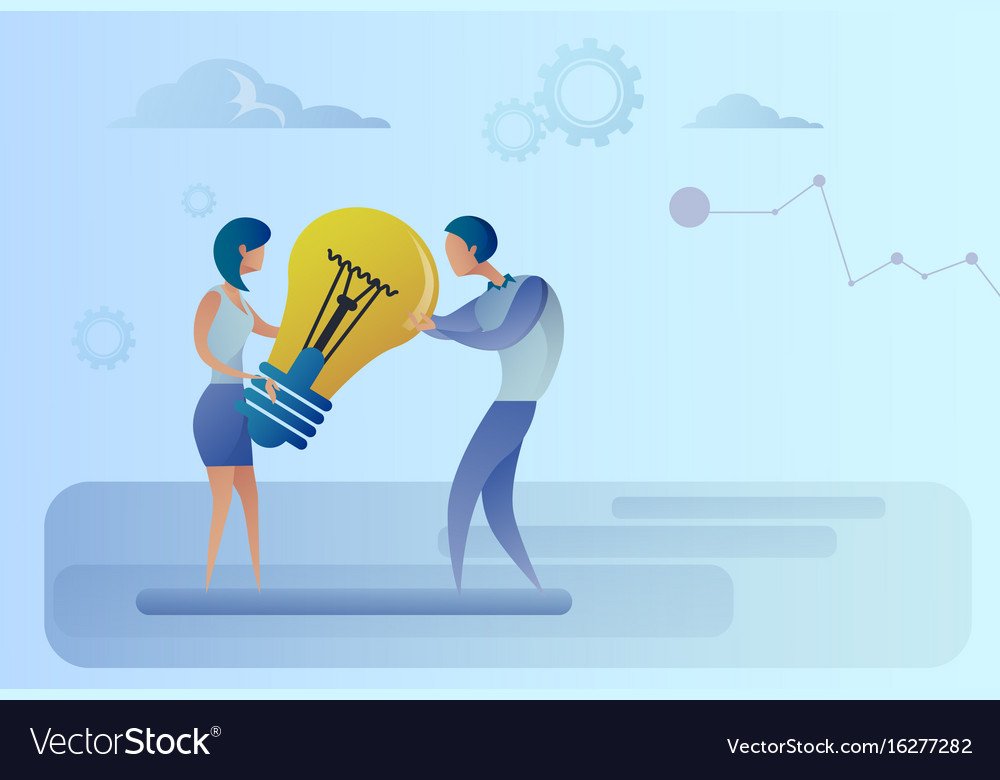 Business man and woman holding light bulb sharing vector image
