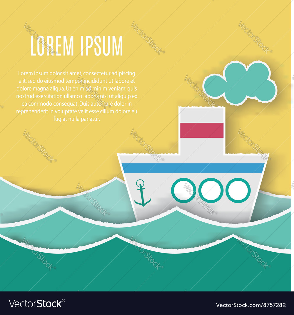 Card Template With Paper Ship Vector Image