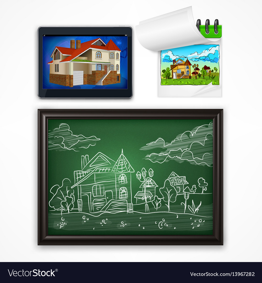 Child hand drawing landscape vector image