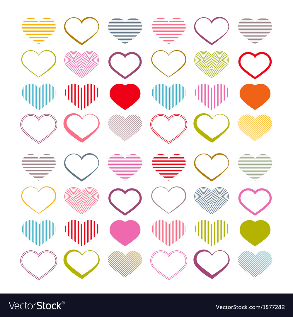 Colorful heart set red valentine symbols