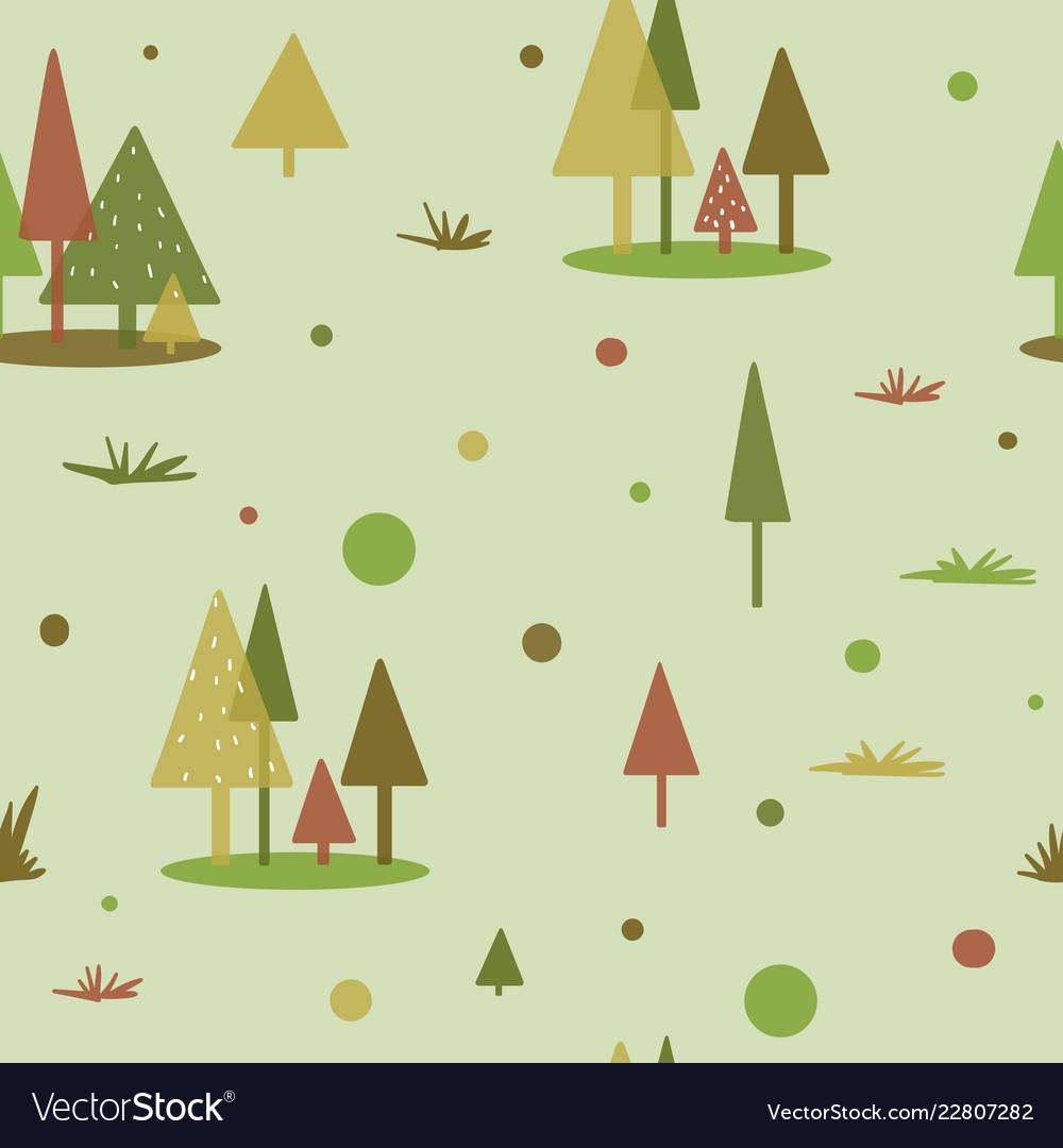 Geometric tree forest pattern flat shape