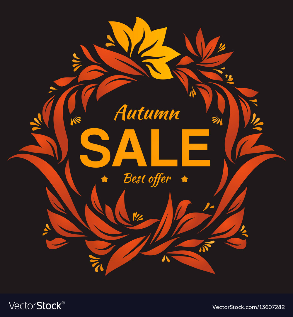Hand drawing autumn floral label at dark backrop vector image