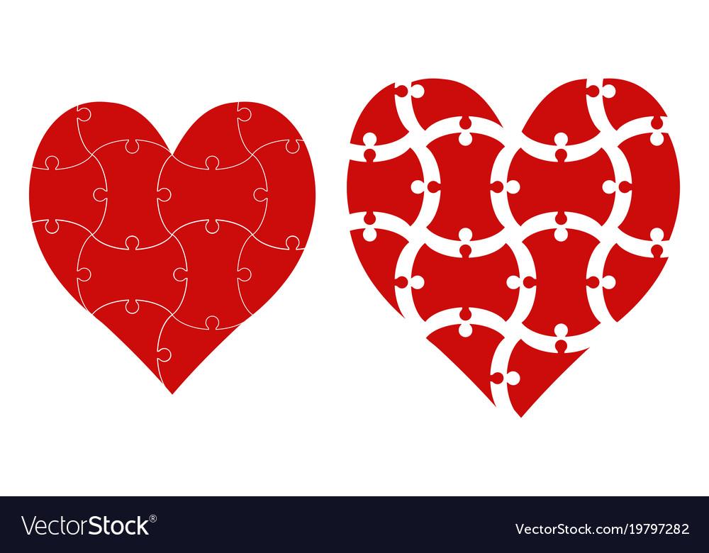 Heart shape puzzle heart puzzle template