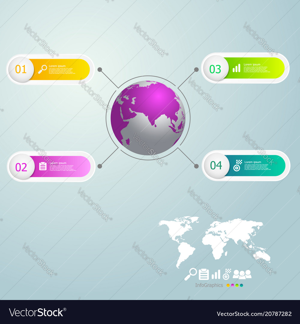Infographics 4 steps with world map for business vector image