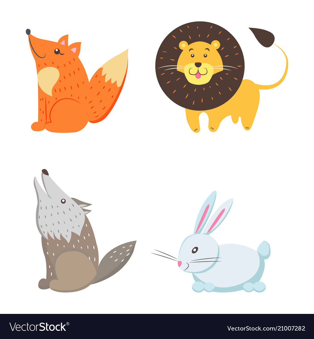 Red fox yellow lion howling wolf white rabbit