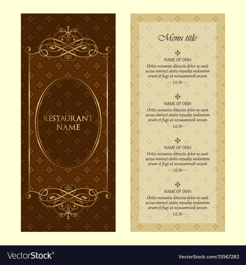 restaurant menu design template vintage style vector image