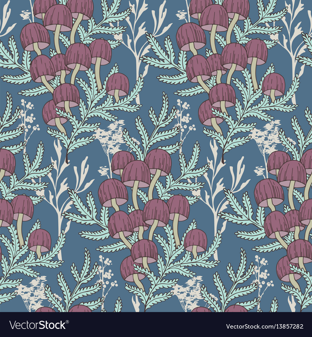 Seamless cute seasonal pattern with fores