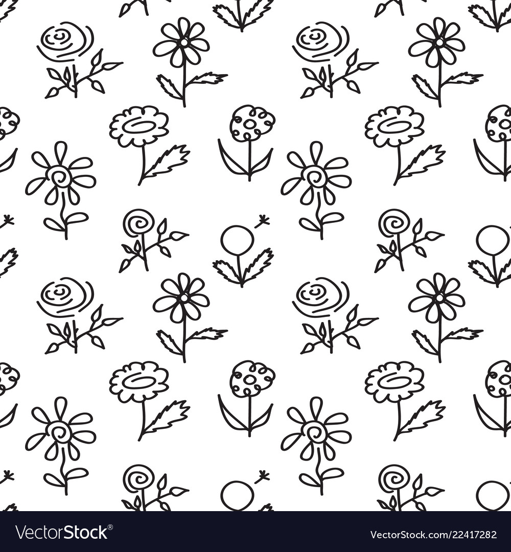 Seamless pattern with hand drawn flowers on white