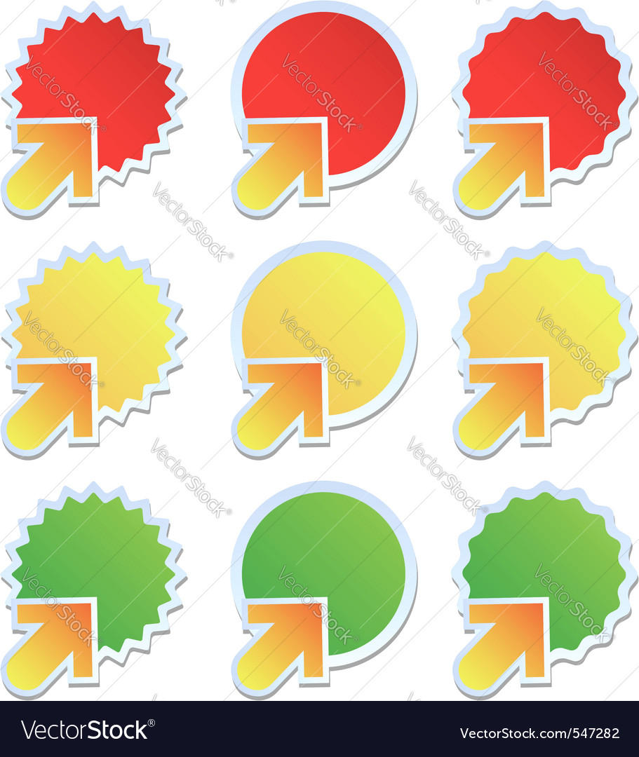 Stickers with arrows vector