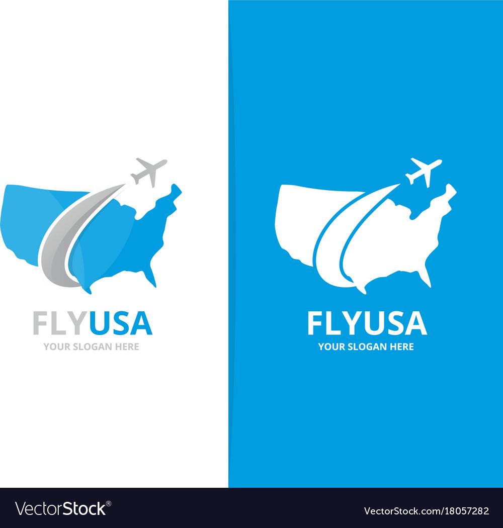 Usa and plane logo combination america