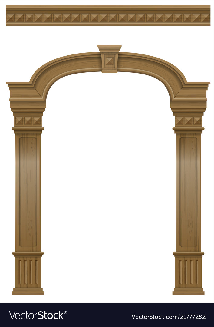 Wooden arch of portal door with columns