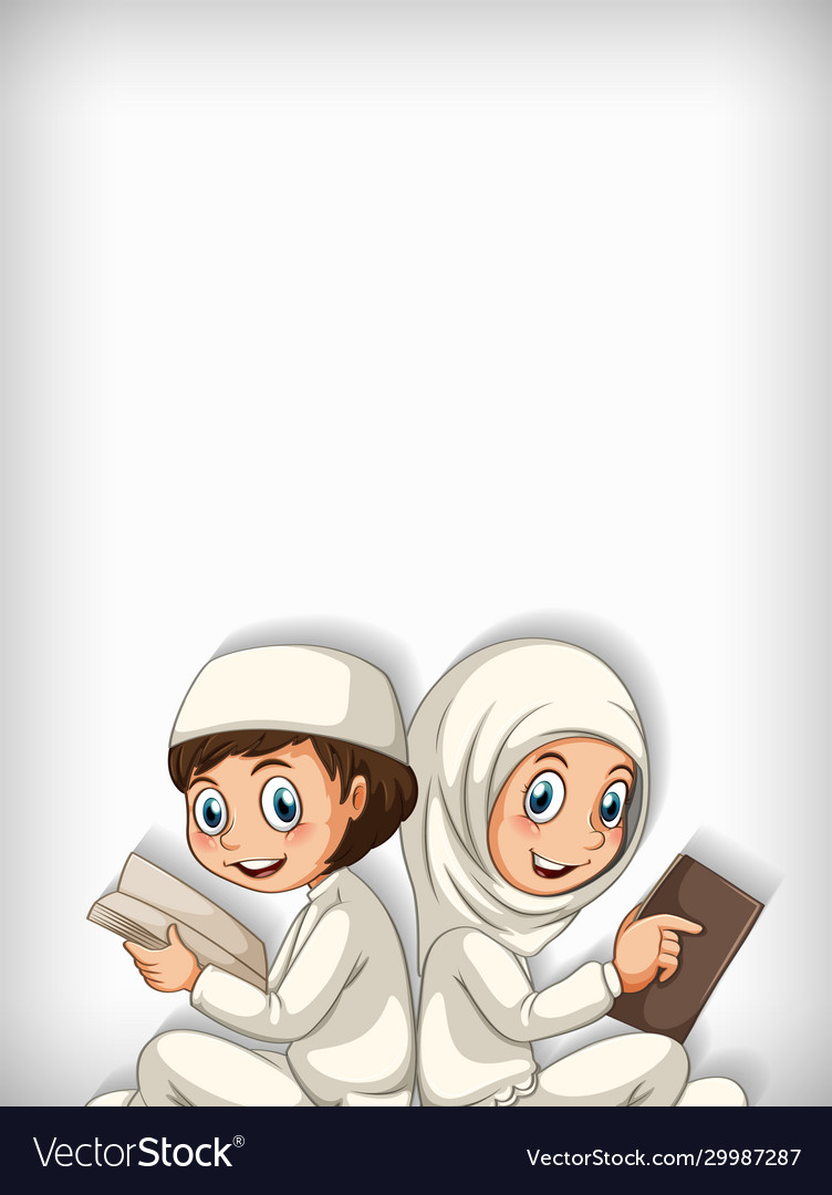 Background template design with two muslim