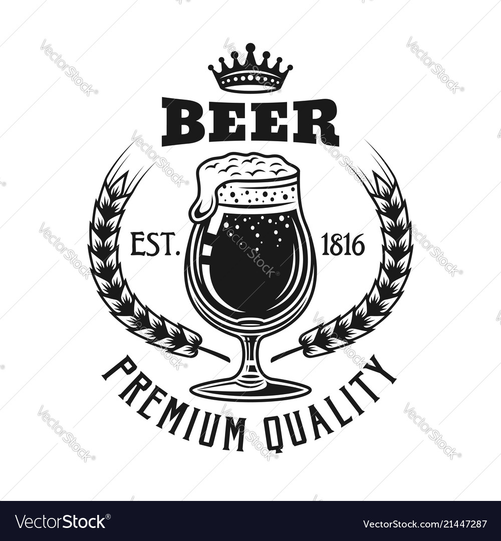 Beer emblem with glass isolated on white