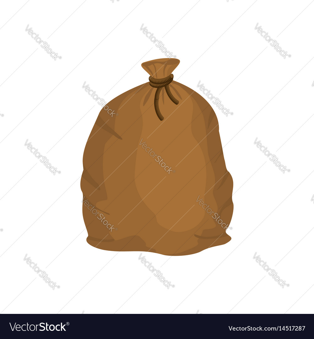 Big knotted sack of grain brown textile bag of