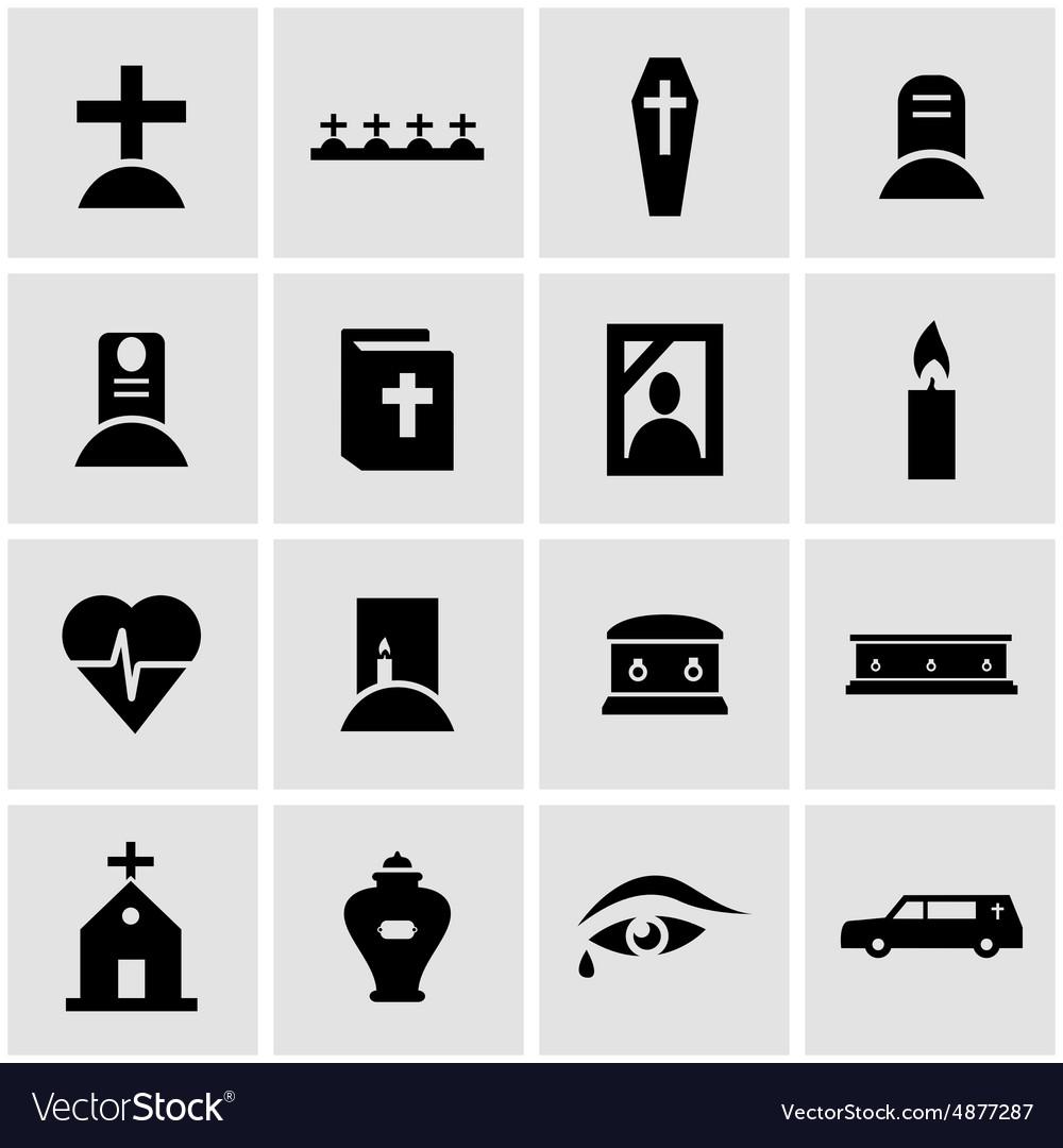 Black funeral icon set