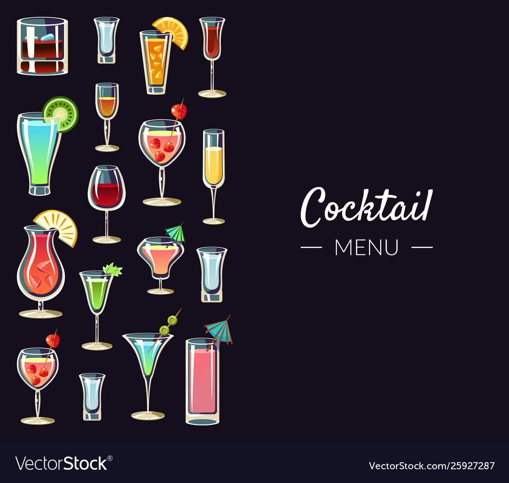 Cocktail menu banner template alcoholic beverages