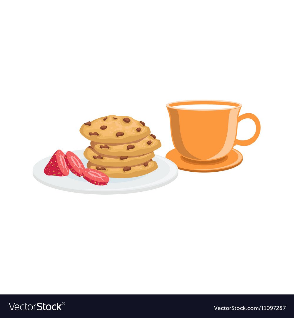 Cookies And Milk Breakfast Food Drink Set vector image