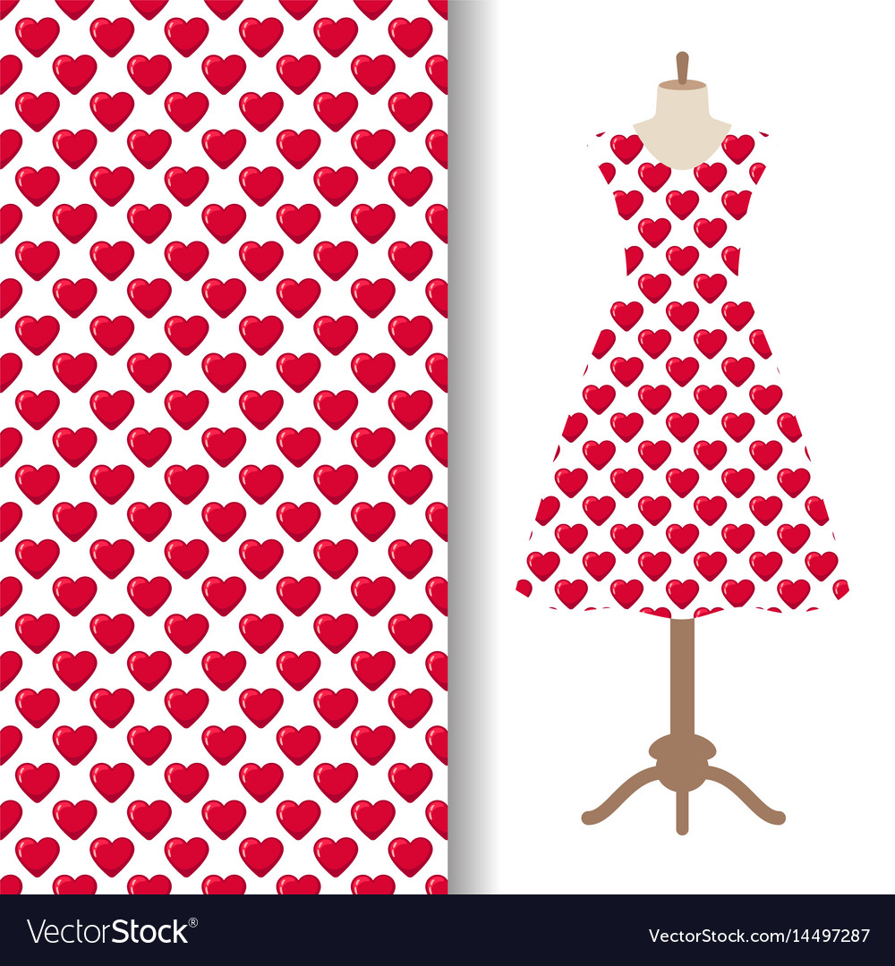 Dress fabric with red hearts pattern