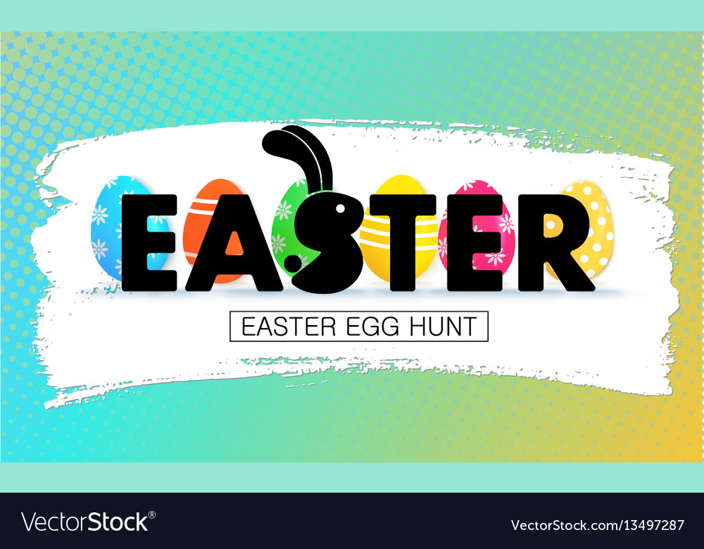 Easter egg hunt holiday banner with eggs