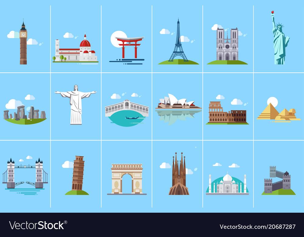 Famous architectural landmarks set popular travel