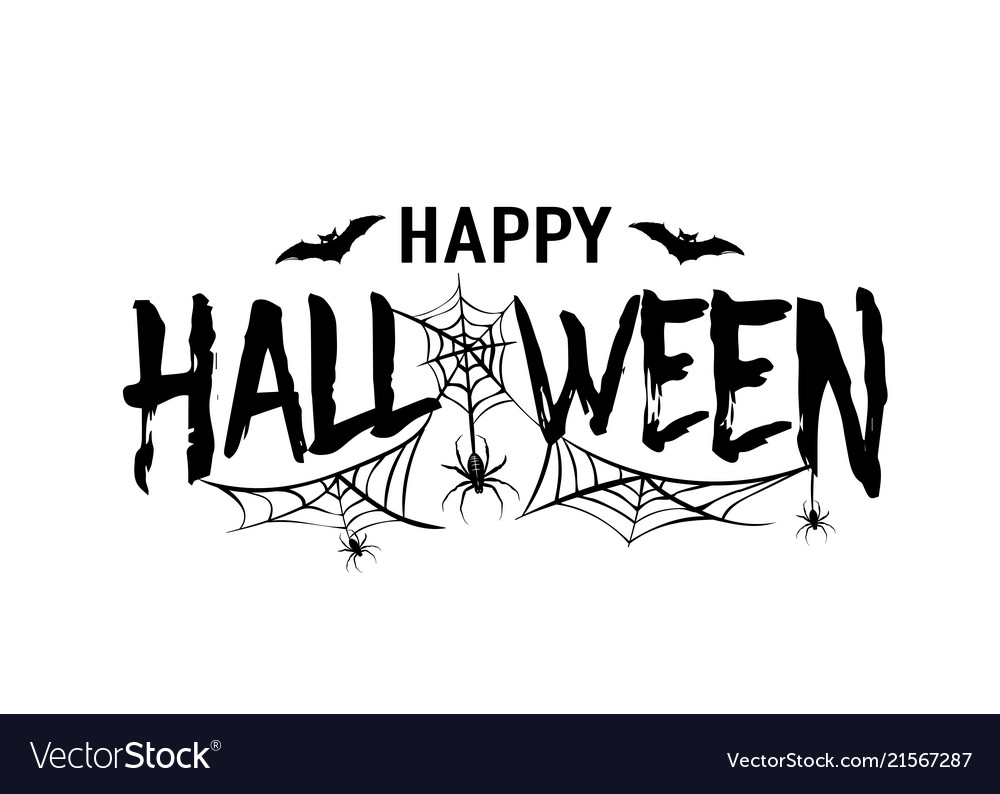 Happy Halloween Text Banner Silhouette Royalty Free Vector