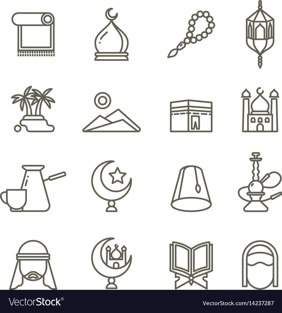 Islamic religion thin line icons