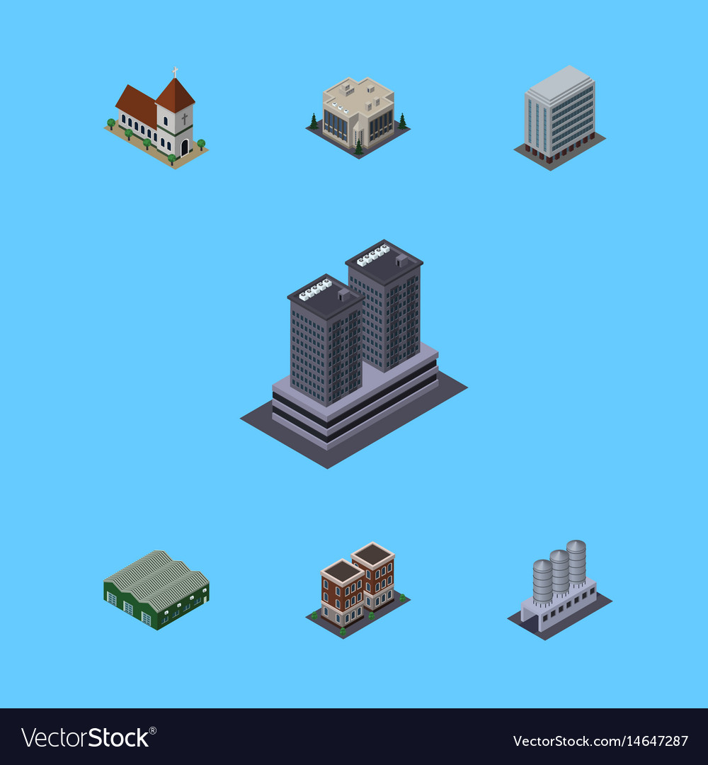 Isometric architecture set of tower chapel house vector image