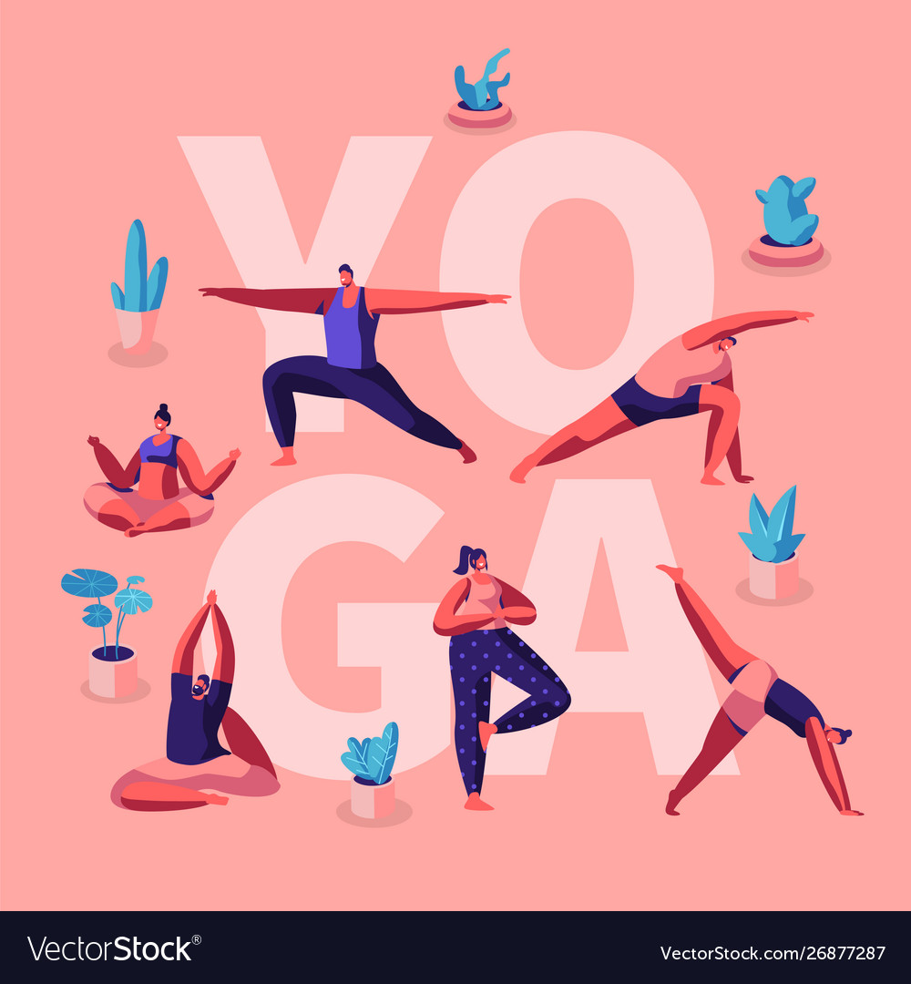 People doing yoga exercises fitness workout in