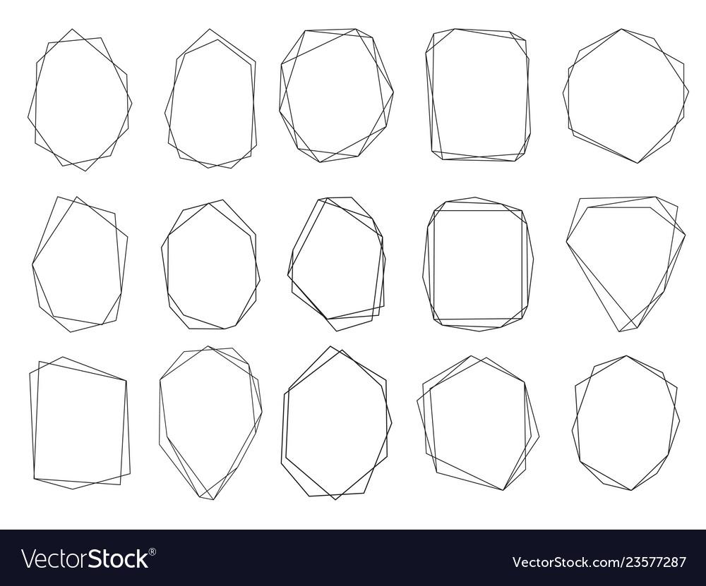 Polygonal frames set gold triangles geometric