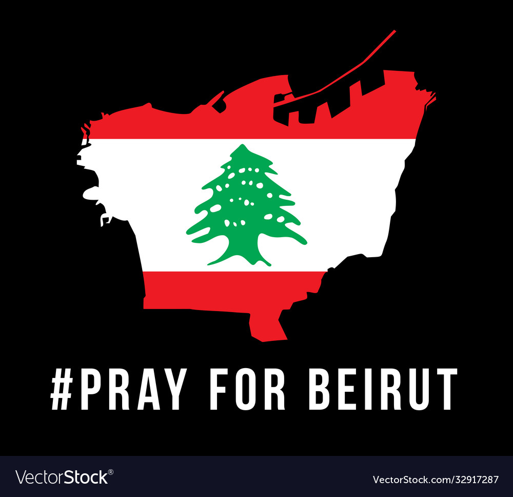 Pray for beirut with beirut map on black