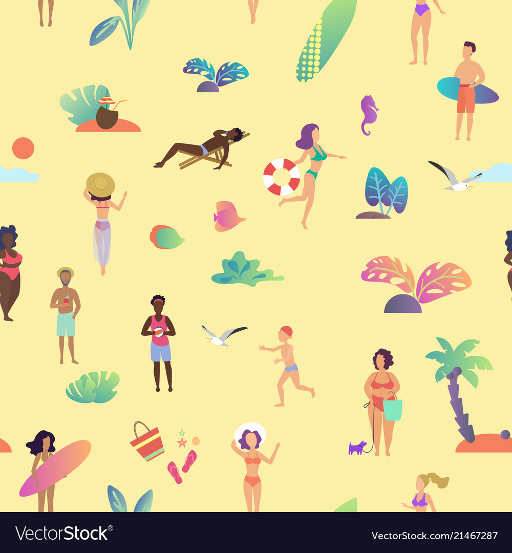 Summer beach seamless pattern top view of