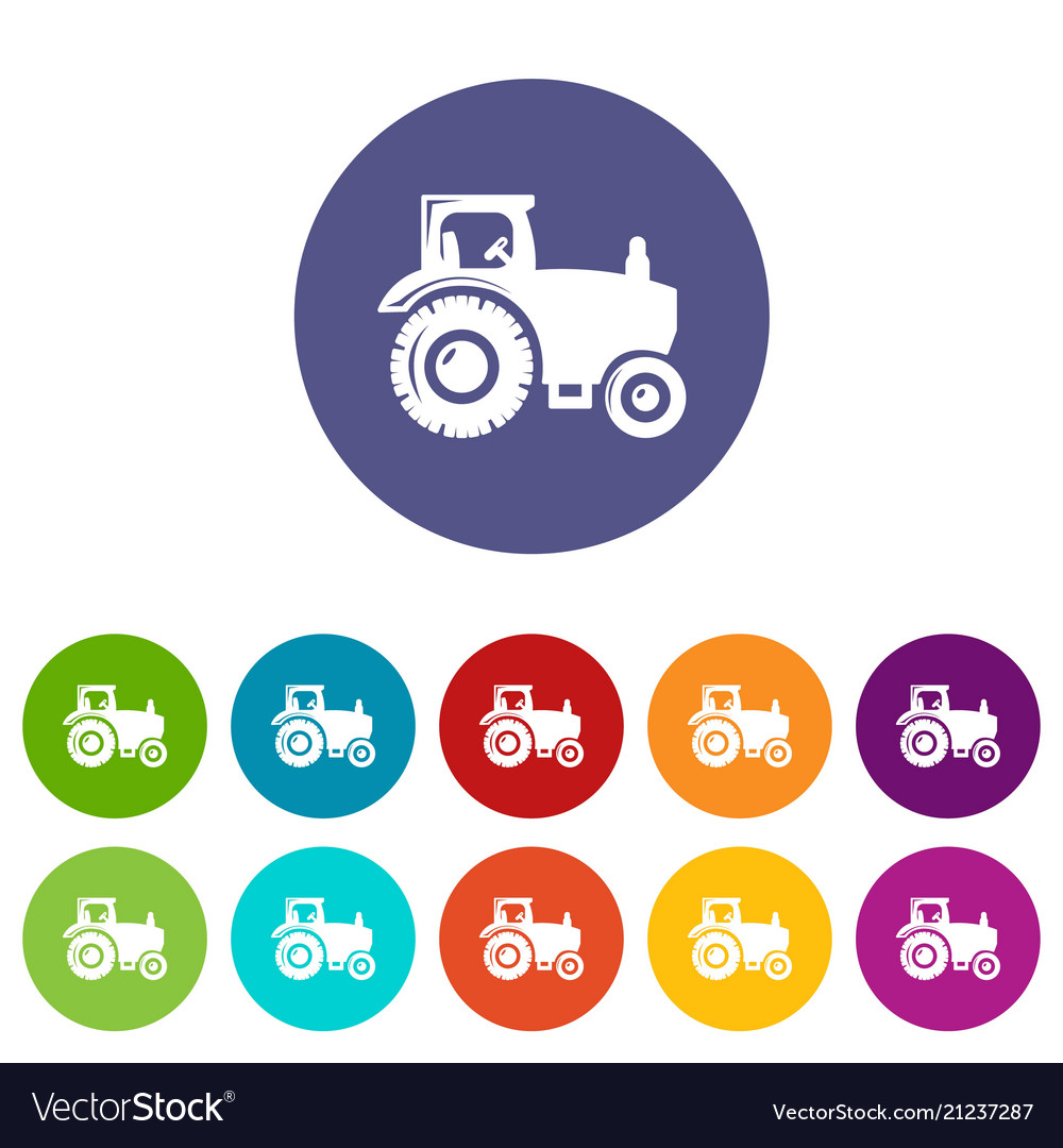 Tractor icons set color