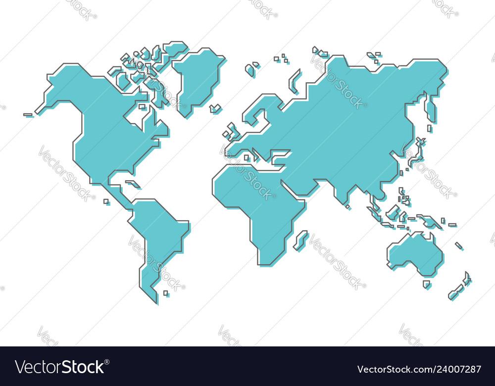 Modern Map Of The World.World Map With Simple Modern Cartoon Line Art